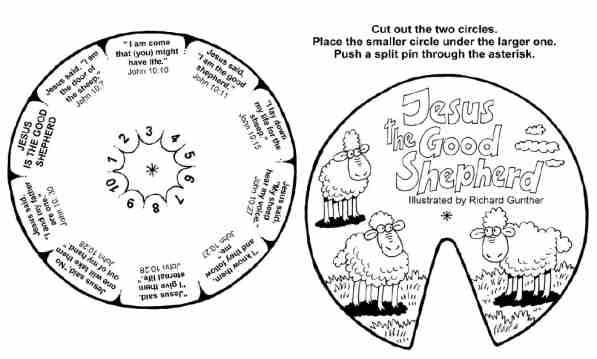 Jesus The Good Shepherd Verse Wheel Col BW